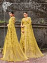 Yellow Banarasi Jute Linen Saree  With Blouse Piece