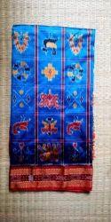 Printed Blue Ladies Party Wear Khandua Malda Silk Saree, Without blouse piece, 5.5 Meter