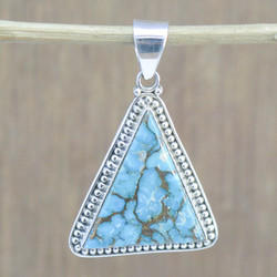 925 STERLING SILVER JEWELRY COPPER TURQUOISE GEMSTONE FINE PENDANT WP-5556