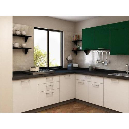 Kitchen Design Size: L Shape Wooden Matte Finish Modular Kitchen, Size: 6x8 Ft