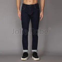 Dark Blue Plain Denim Pants For Men