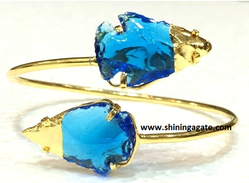 Blue And Golden Blue Color Glass Two Tone Arrowhead Bangle
