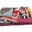 Vintage Indian Handmade  Reversible Cotton Kantha Quilt