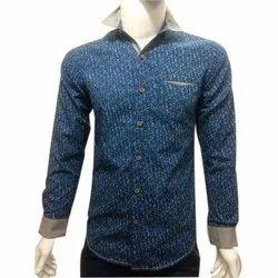 Blue Mens Cotton Casual Shirt