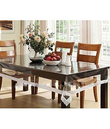 Transparent 6 Seater Table Cover With Printed Border