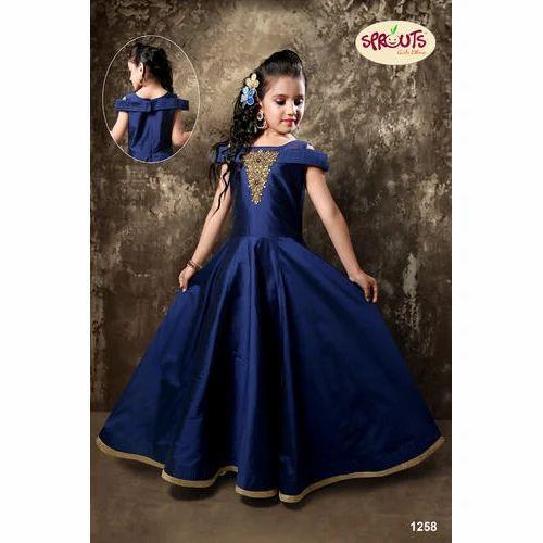 cc10635e2d7d3 Navy Blue Chiffon Kids Party Wear Gown, Size: Large, Rs 1595 /piece ...