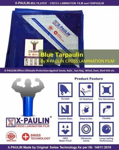 Blue X-Paulin Cross Lamination Tarpaulin, Packaging Type: Bag