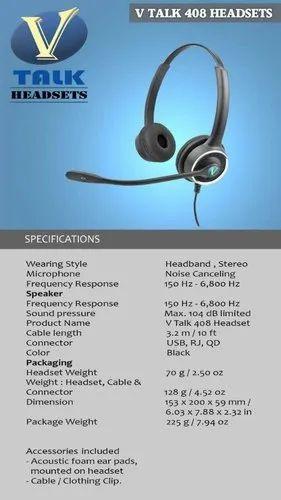03c95655ac0 Black Binaural Headsets V Talk 408 Headset, Weight: 100, Rs 5000 ...