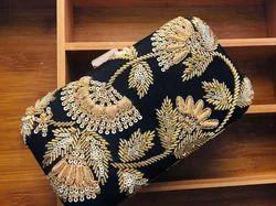 Velvet Embroidered Ladies Box Clutch