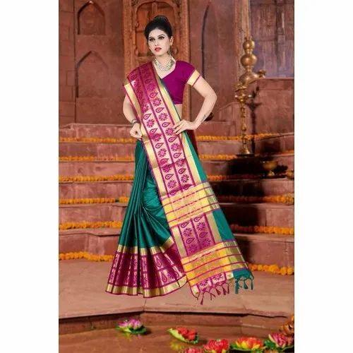 6c63e75d2b Hashmi Jari Border Broad Border Cotton Silk Saree, With Blouse Piece ...