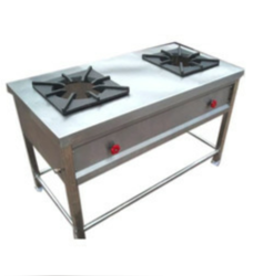 Mj Stainless Steel 2 Burner Commercial Gas Range, For Commercial, Restaurant