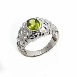 Natural Peridot hot Fine 92.5 Sterling Silver Handmade Mens Favourite Gemstone Ring