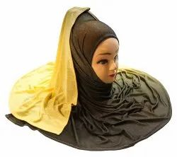Yellow Color Casual Wear 2 Shade Jersey Stretchable HIjab Scarf Dupatta