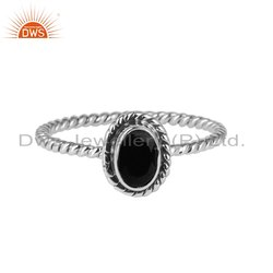 Natural Black Onyx Gemstone Designer Oxidized 925 Silver Rings