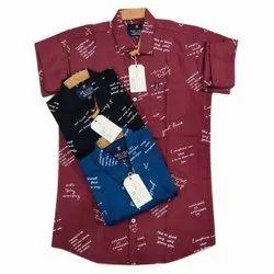 Regular Wear Printed Mens Stylish Cotton Shirt, Machine wash, Size: M-xl