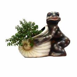 Shankh Shape Planter With Frog