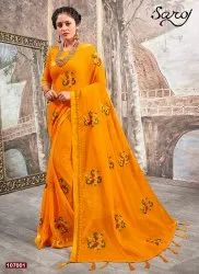 Stylish fancy chiffon silk  saree