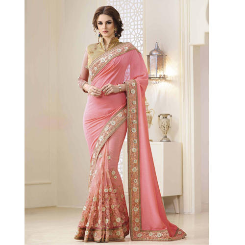 508122ada6 Beautiful Designer Wear Peach Georgette Sarees at Rs 2899 /piece ...