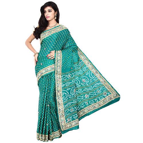 39d6a1b021 Gaji Silk Bandhani Fancy Saree with Separate Blouse Piece, Length: 5.5 m