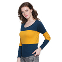 Women 100% Cotton Striped Round Neck T-shirt