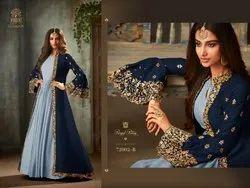Blue Georgette Satin Anarkali A-line Gown, Size: Free Size