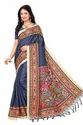 Party Wear Blue Multicolor Printed Fashion Khadi Silk Saree With Blouse Piece