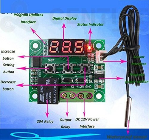 CentIoT - Digital Thermostat/Temperature/Thermo Controller Switch  Waterproof NTC Sensor (W2809 220V)