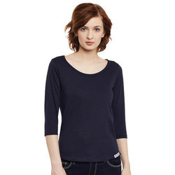 Round Neck 3/4 Sleeve Ladies T-Shirt