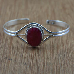 Silver Jewelry Doctor 925 Sterling Silver Ruby Gemstone Jewelry Bangle