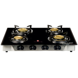 Vijayalakshmi Four Burner Glass Top Stove, Packaging Type: Box