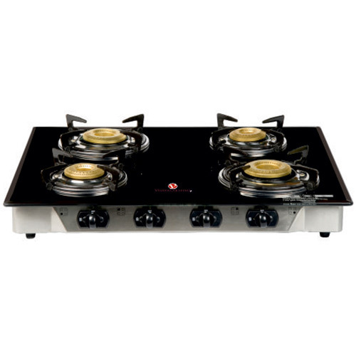 Vijayalakshmi Stainless Steel Four Burner Glass Top Stove, for Kitchen, Packaging Type: Box