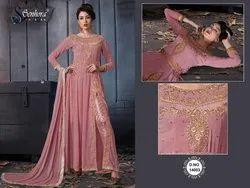 Churidar Semi-Stitched Indian Ethnic Designer Pure Faux Georgette Parry Wear Pink Suit