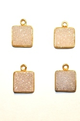 Pearl Shimmer Bezel Set Druzy Gemstone Connector