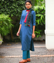 Royal Blue Handloom Cotton Long Kurta