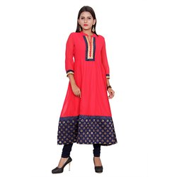 Red and Blue Georgette Kurti