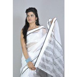Cotton Block Print Block Printed Saree, 5.2 m (separate blouse piece), Hand Made
