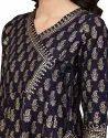 Yash Gallery Women's Cotton Cambric Foil Print Angrakha Kurta