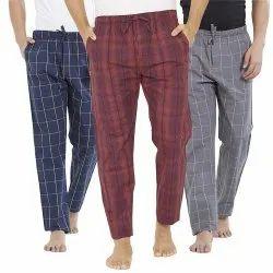 White Gray Sky Blue Flat Chex Trousers, HANDWASH AND MACHINE WASH, Full Elastic