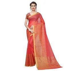 Peach Colored Poly Silk Woven Casual Wear Saree