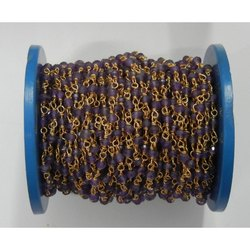 Amethyst Gemstone Wire Wrapped Chain