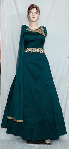 bc9d5c2d173 Net And Silk Women Bottle Green Party Gown