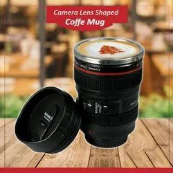Prime-Box Plastic Steel Insulated Coffee Travel Camera Lens Shaped Mug with Lid
