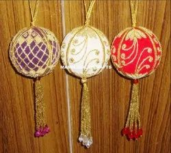 Decorative Zari Embroidery Christmas Balls