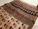 Natural Color Party Wear Hand Block Print Maheshwari Silk Saree, 6.3 M (with Blouse Piece)