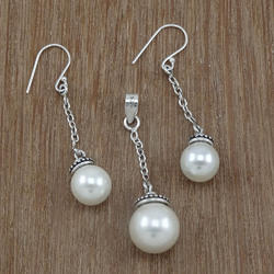 925 Silver Jewelry Pearl Gemstone Sets