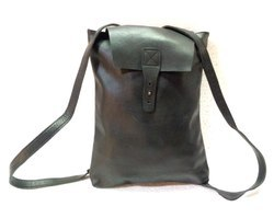 Black Leather Rucksack Backpack
