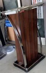 Brown and Beach Prelaminated board Wood Podium, Size (Feet): 48x24x18 Inch