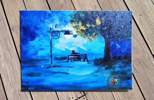 4ee474b1297 Canvas Acrylic Couple On Bench Romantic Abstract Painting