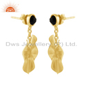 Black Onyx Gold Plated Silver Wavy Disc Drop Earrings