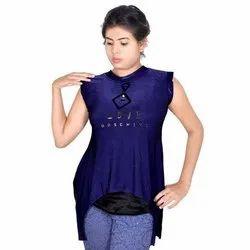 Blue Sleeveless Womens Party Wear Top